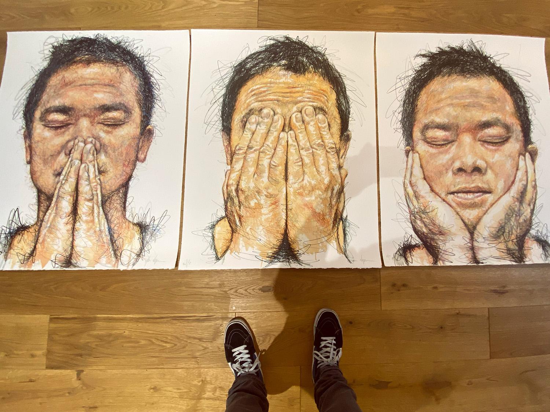 Lithographs, self-portrait triptych